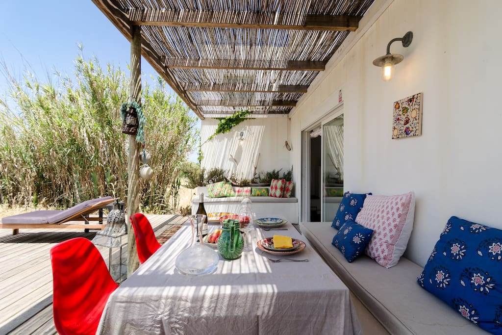 Back terrace with pergola: nice views