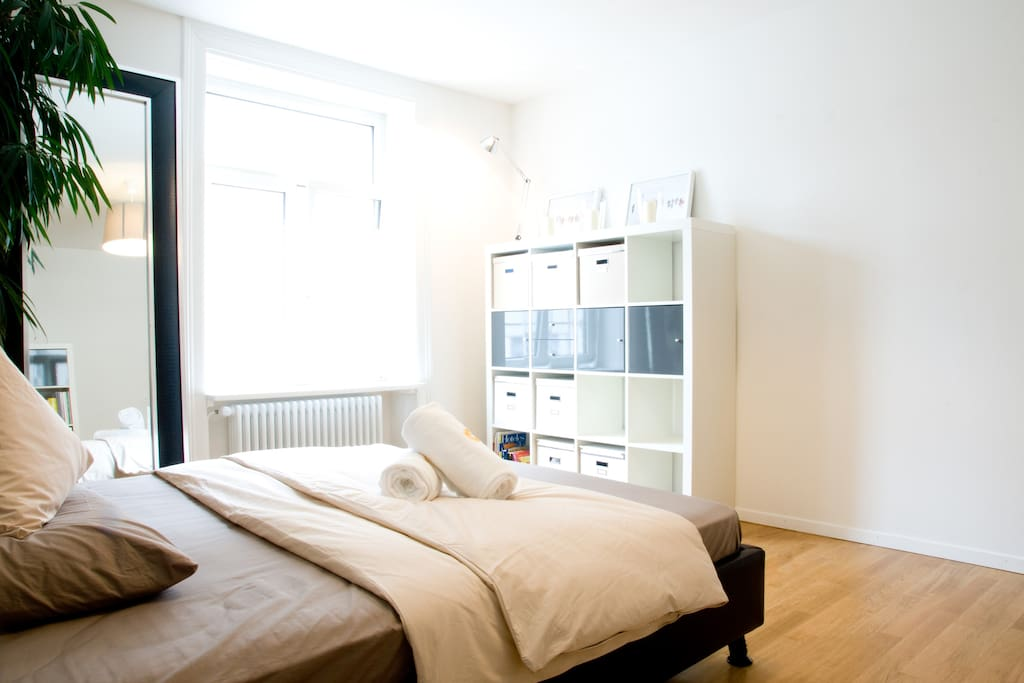 Comfortable and big bedroom with king-size bed