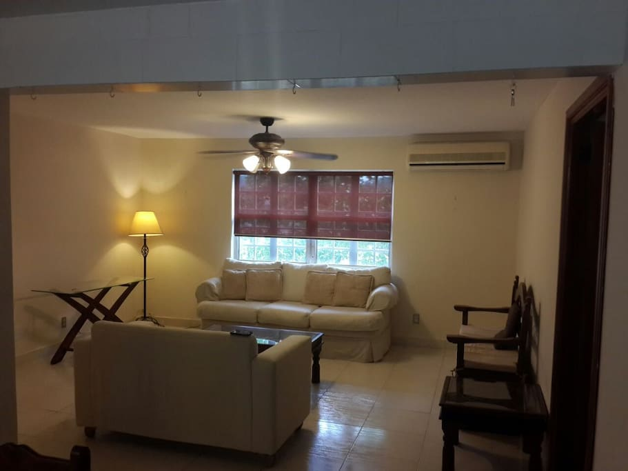 Living room. Split air conditioning and roller shades