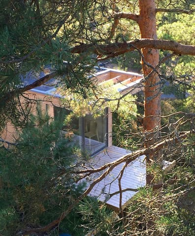 house in the treetops with a wonderful view 200 meter from the water