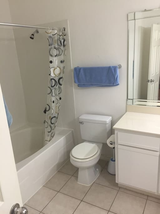 Large tub and clean bathroom. Photo came out sideways.