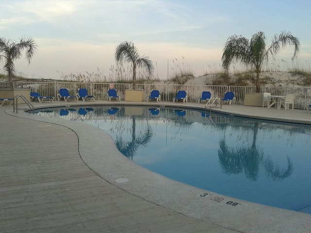 One of two beach side pools
