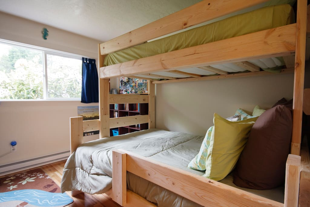 Second Guest Room/Children's Room: Locally made bunkbeds with a twin bed over a full bed.