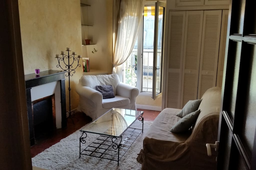 Living room with acces to a typical parisian balcony