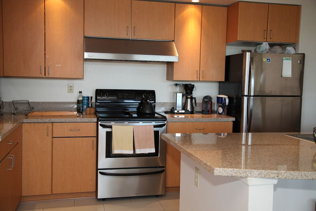 Open kitchen with gourmet appliances and plenty of cookware.