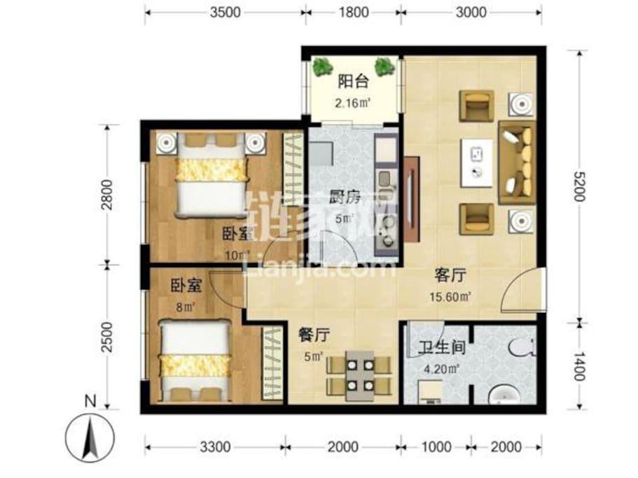 2卧2厅1卫1厨 很干净 家具齐全