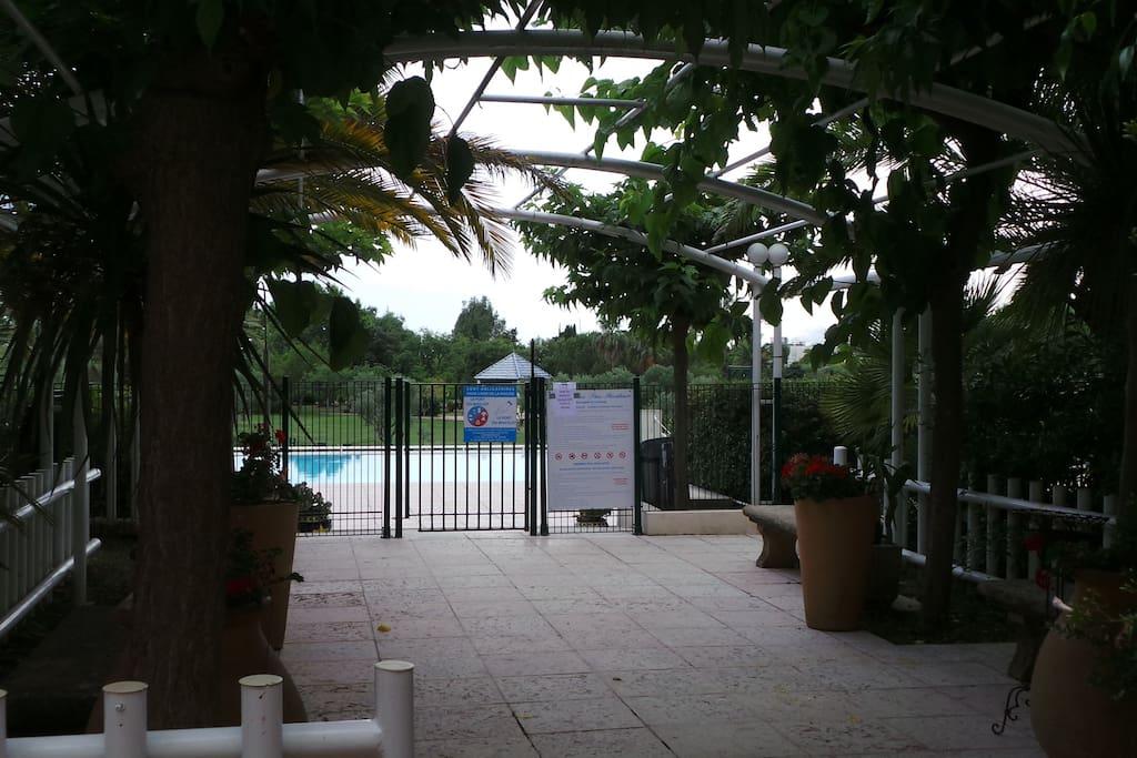 L'accès à la piscine