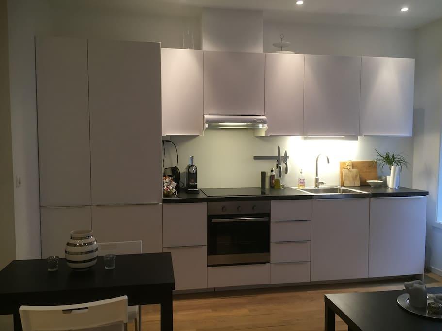Fully equipped modern kitchen with fridge/freezer/stove/dishwasher/ Nespresso coffee machine etc.