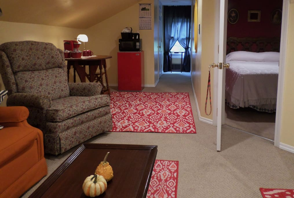 Your loft space--Queen-Size Bed, Sitting Room, and  Kitchenette