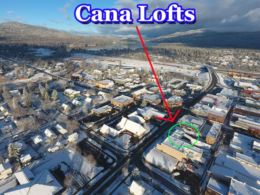 Downtown Whitefish Aerial of Cana Lofts