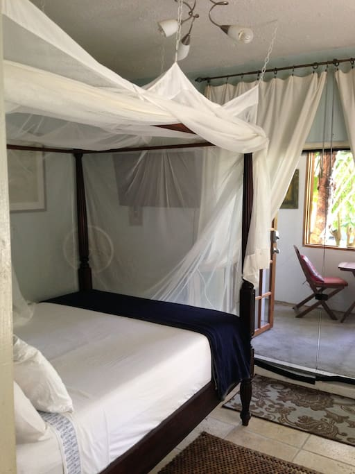 Bedroom with queen size bed, and mosquito netting