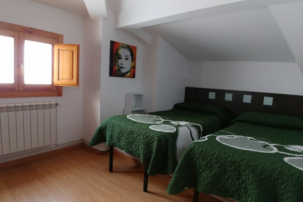 Habitación 1, con dos camas individuales y bien iluminada