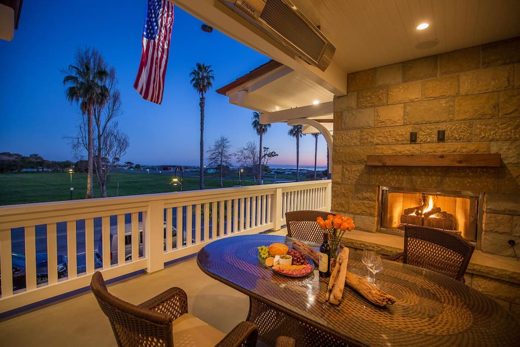 Outdoor Dining Area w/ Standstone Fireplace