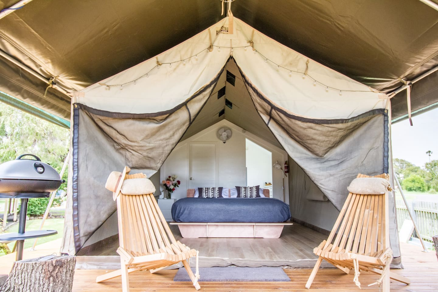 Two Safari Tents have a King Bed and Water views