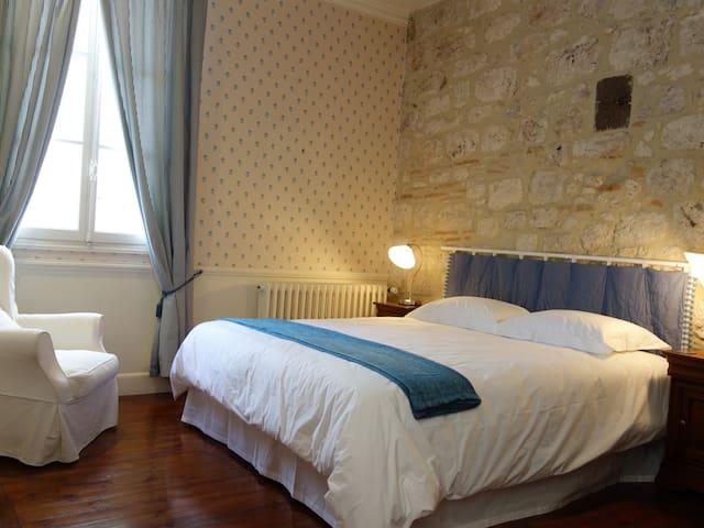 Chambre Bleu - antique fireplace and beautiful rich wooden floors!