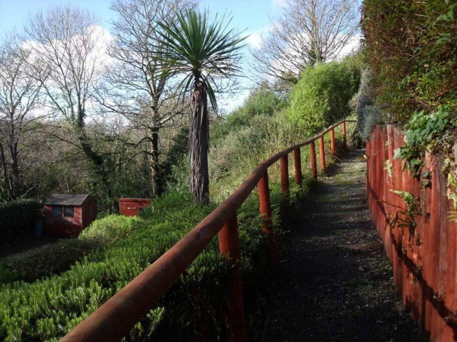 One of the garden walkways