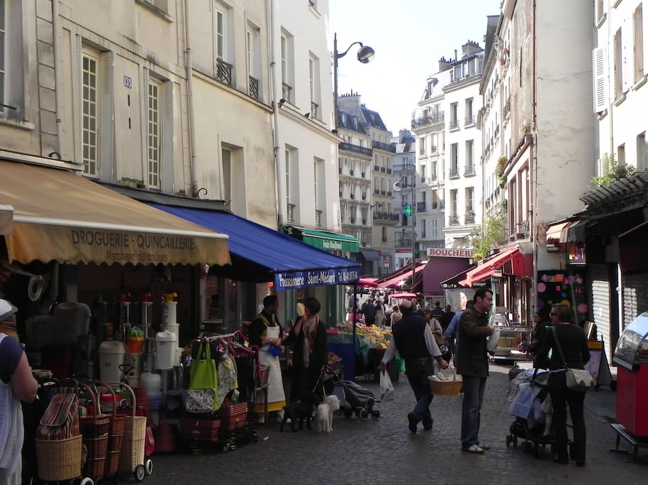 Famous Rue Mouffetard, charming market during the day, dozens of bars during the night