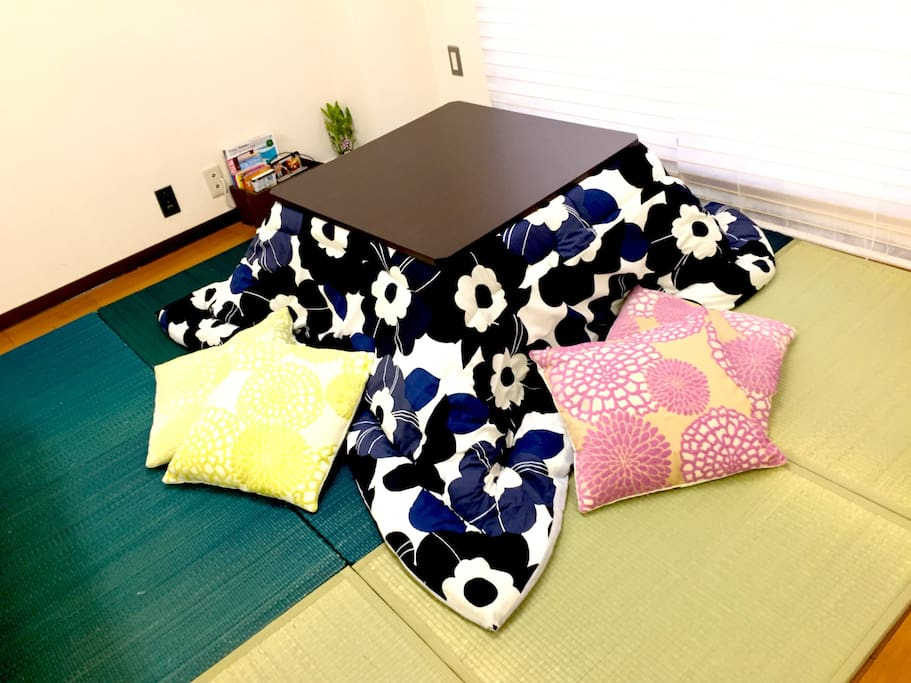 Kotatsu(Japanese typical heater table) in winter. Don't you want to experience it?