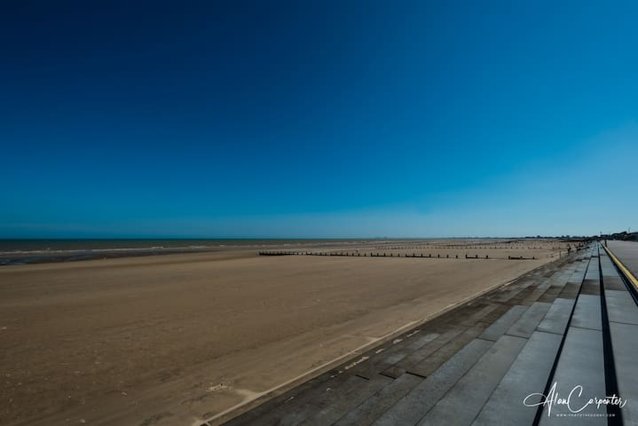 Dymchurch Beach.  Right outside the house.
