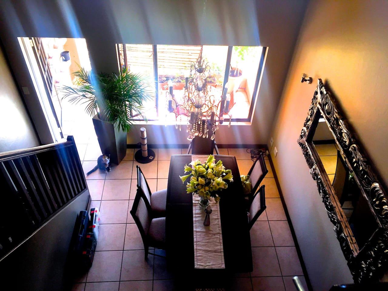 Upstairs loft overlooking dining room