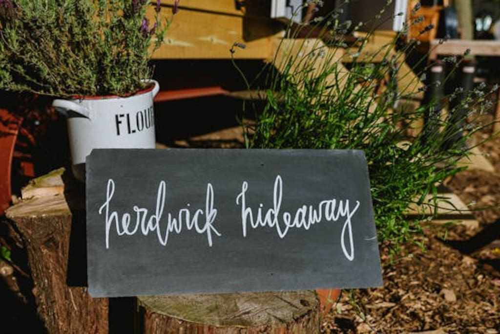 Each of our three huts has a name - this one is the Herdwick Hideaway