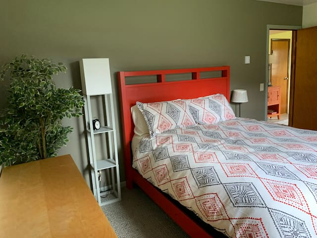 The bedroom contains a queen sized bed, closet, and large dresser