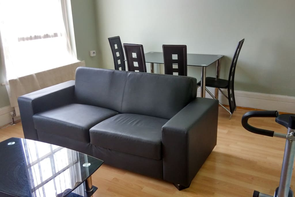 Sofa and dining table set.