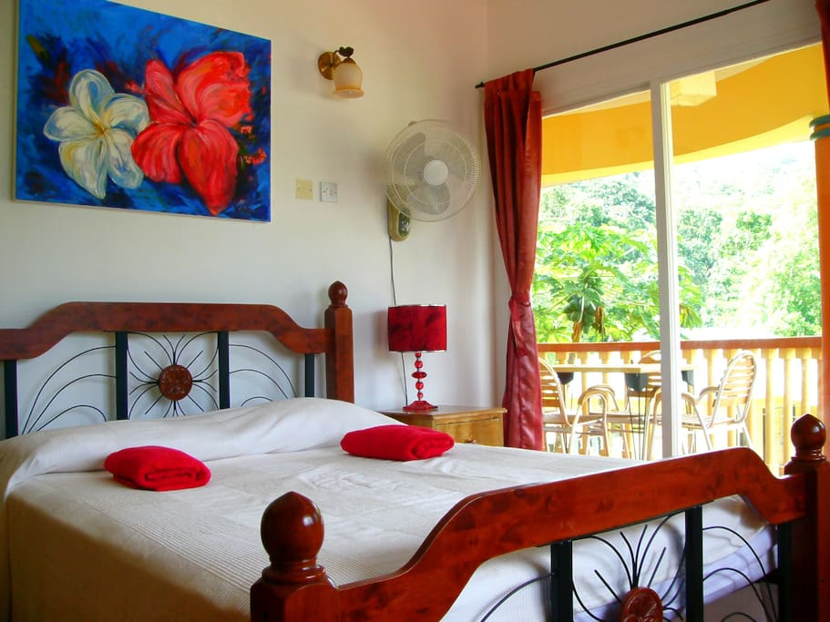Double bed with balcony