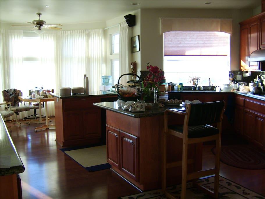 Kitchen, island and nook.