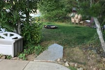 Grassy area and fire pit