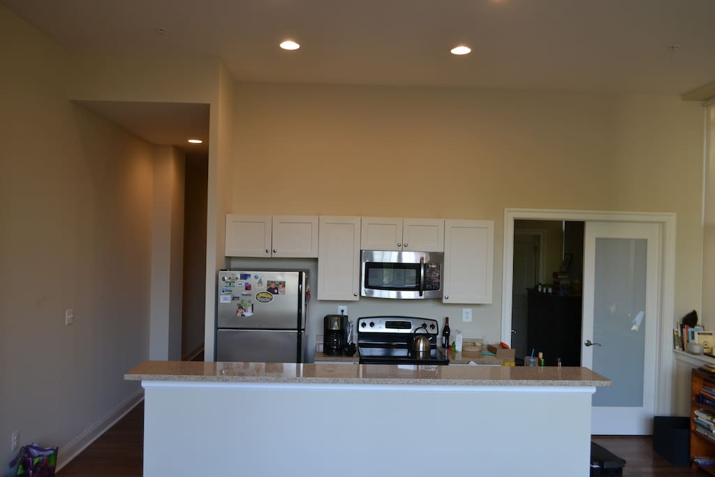 full size refrigerator, dishwasher, microwave, full size stove/oven, coffee pot and all cooking * dining essentials