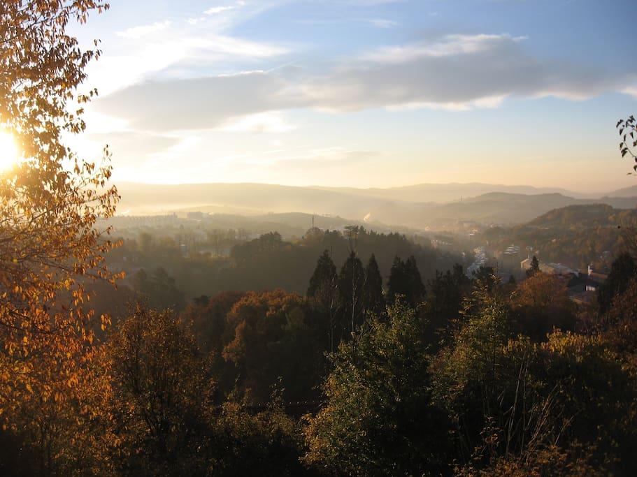 view from garden over Banská Štiavnica