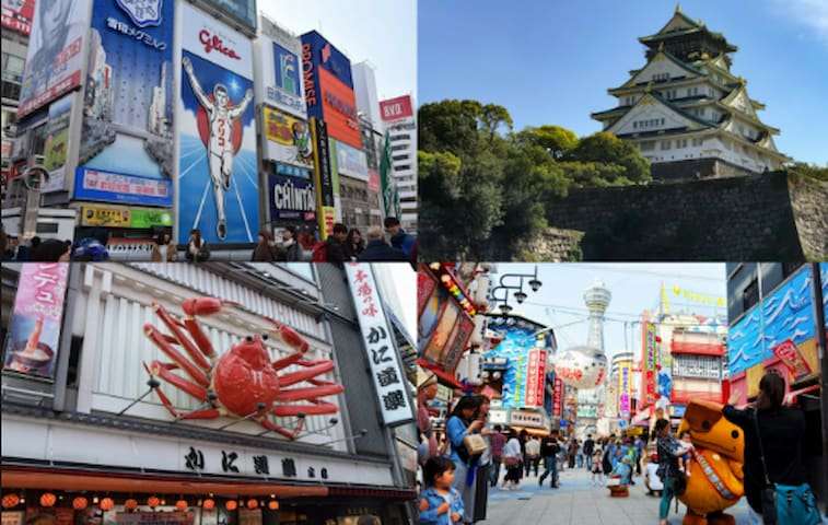 In Osaka, you can enjoy Dotonbori and Shinsaibashi, famous for Kuidaore, and Osaka gourmets in the New World, and enjoy a variety of entertainment such as Universal Studios Japan (C).