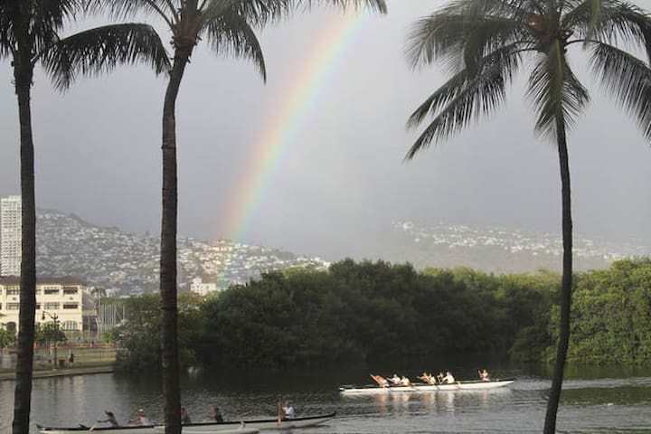 watch the outrigger canoes daily and often see a rainbow!