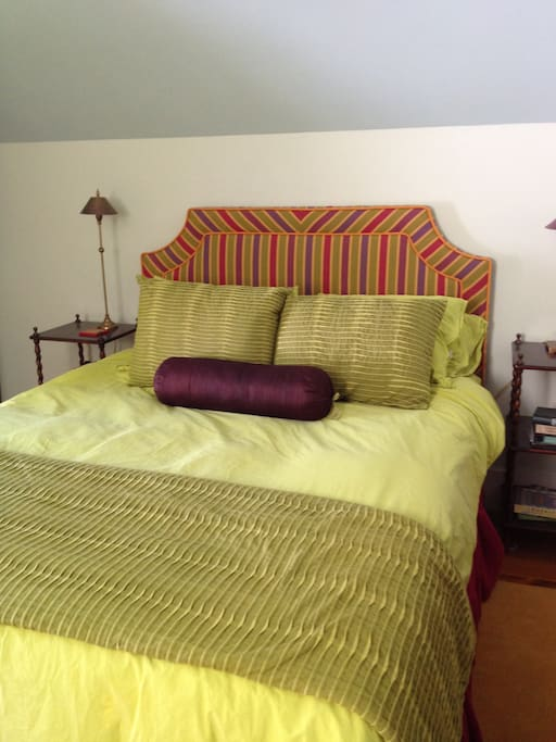 Your comfy bed, made up with colorful, crisp linens. A welcoming spot at the end of a full day in Vermont!