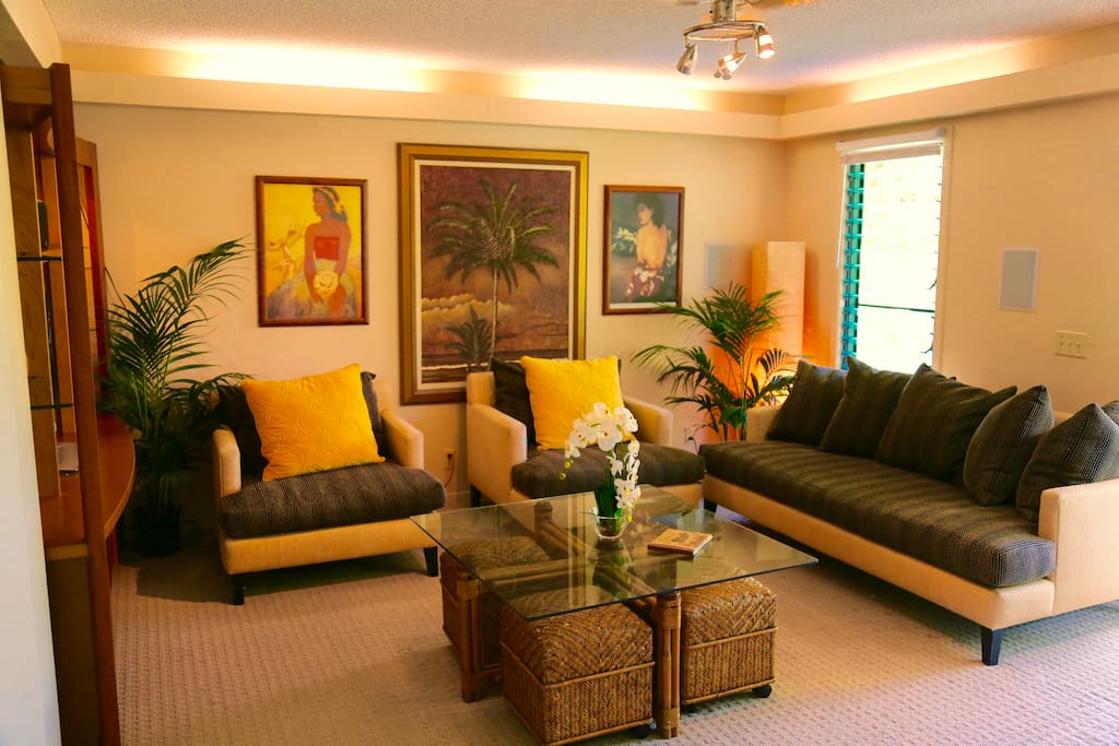 Living Room. 48 inch HDTV, DishNetwork, luxurious designer furnishings.