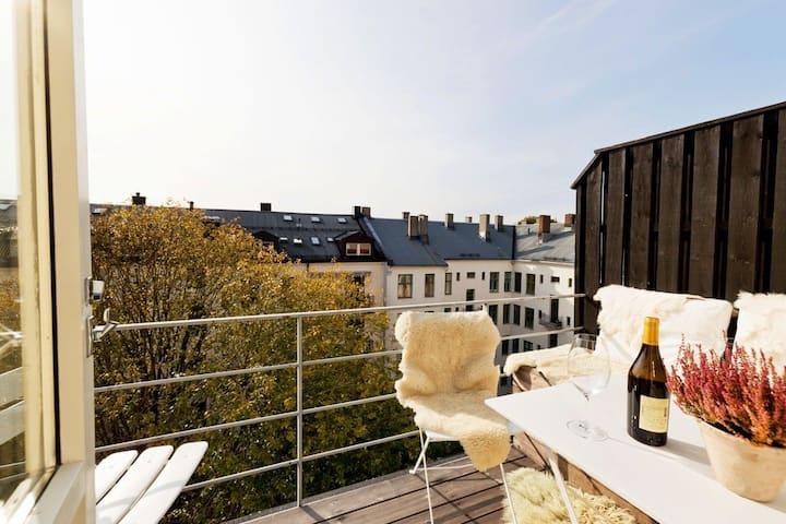 Sentral toppleilighet med solrik balkong