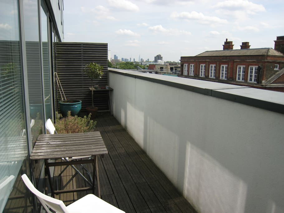 Balcony with views down across London to the Shard