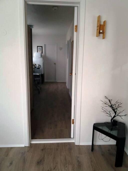 The door the the bedroom hallway