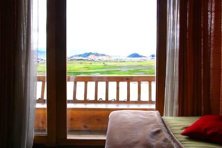 香格里拉草原上藏族土屋豪华大床房带早餐躺在床上看蓝天白云草地牛羊