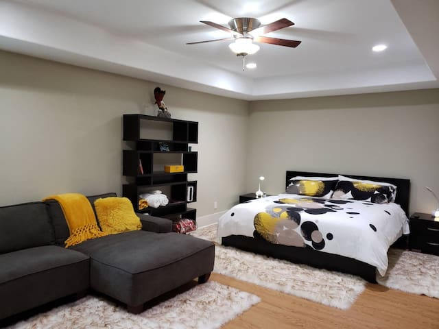 Bedroom 2 ,king bed and couch.. include large walking closet with adjoining door to the bathroom.