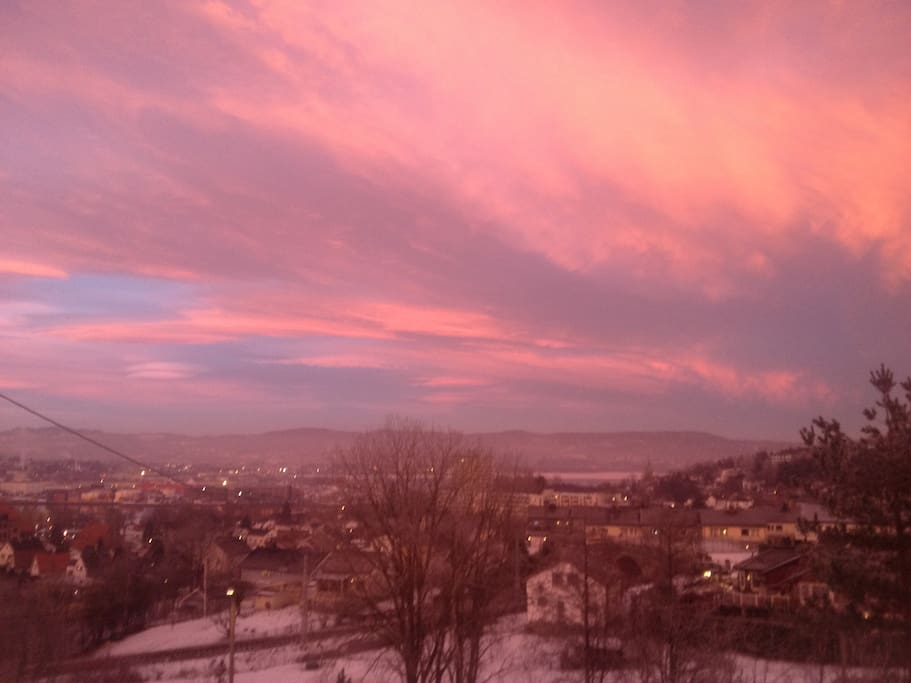 Beautiful wiew over city of Drammen and the fiord of Drammen