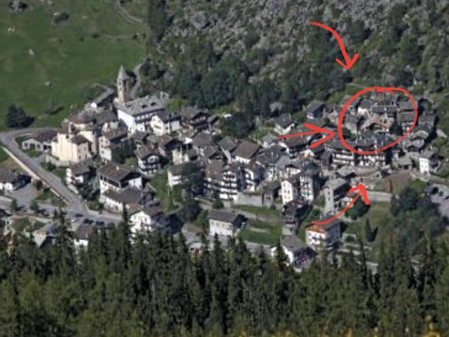 Villaggio di Dégioz in rosso la posizione esatta della casa