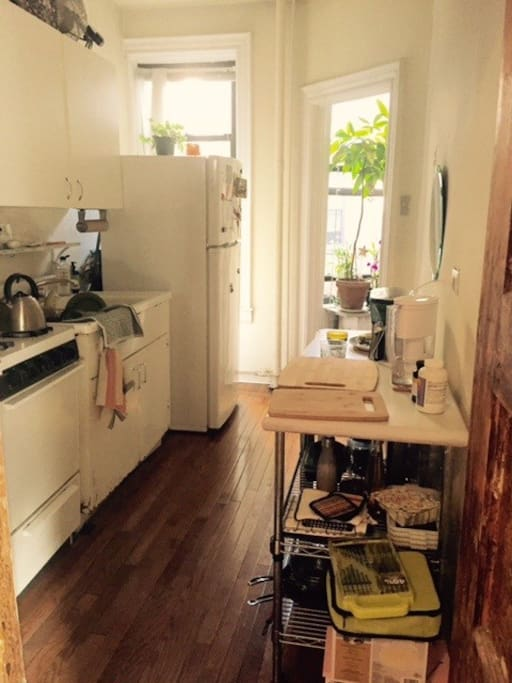 Clean, bright, great size kitchen. Hardwood.