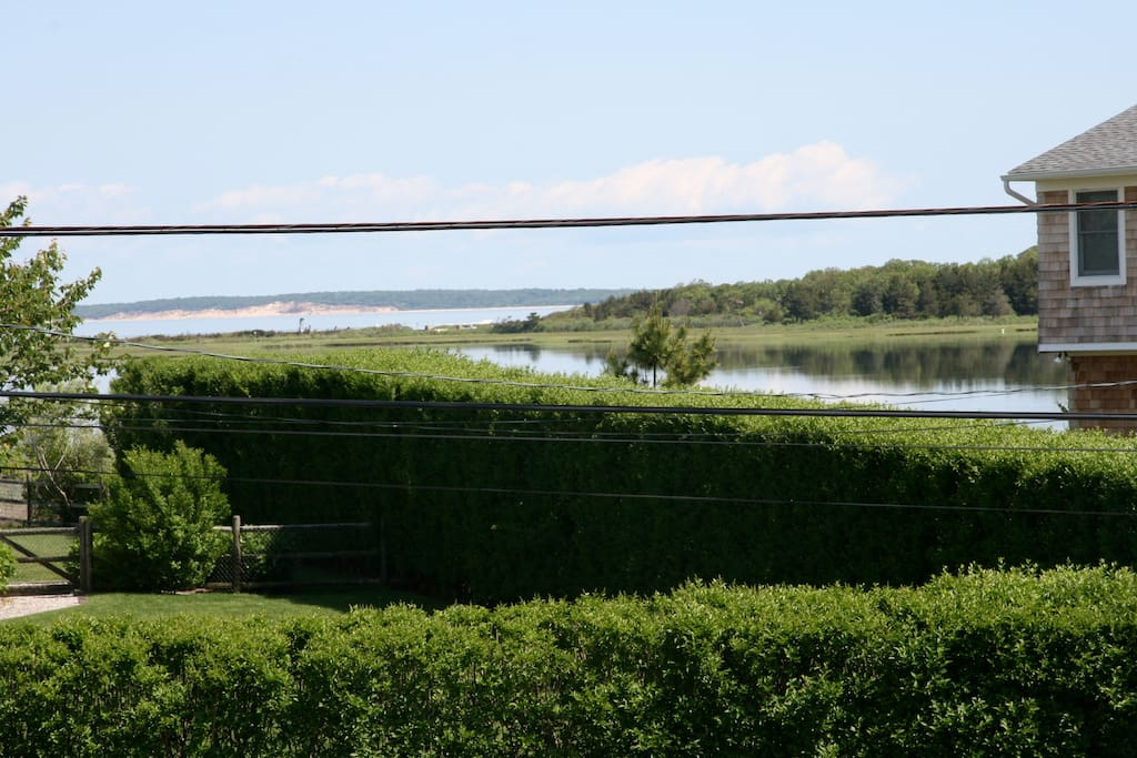 Views of the pond and Great Peconic Bay from upper living areas