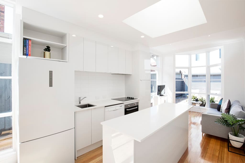 Newly renovated kitchen with plenty of natural light