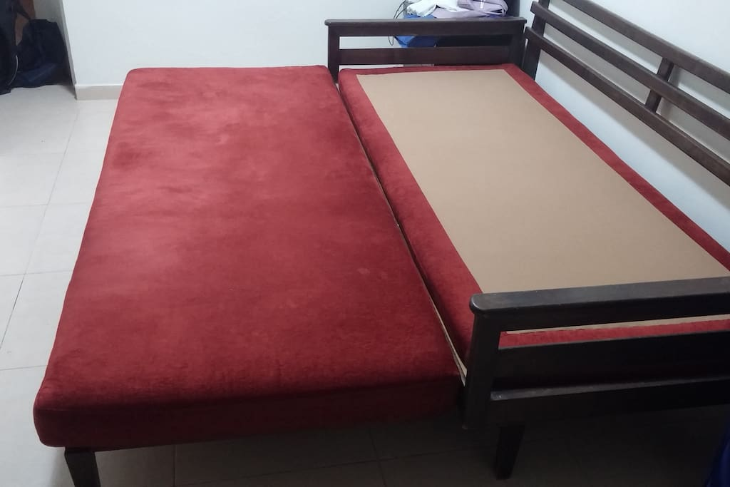 Sofa opened to serve two sleepers.