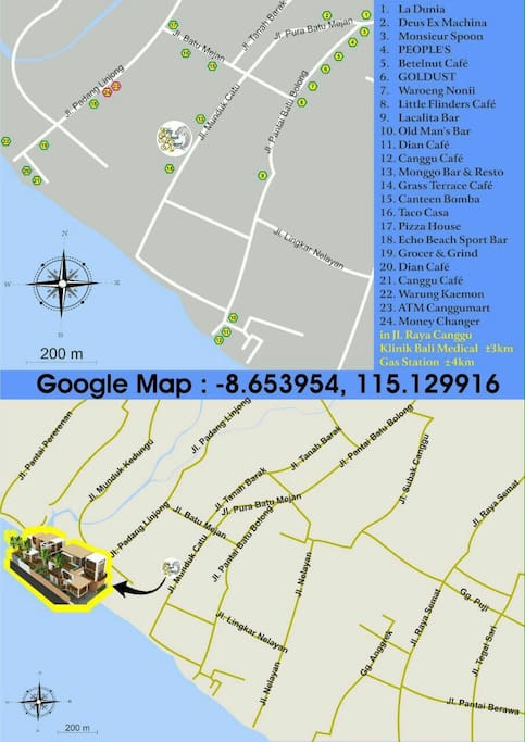 Map with Google Coordinates for Resort