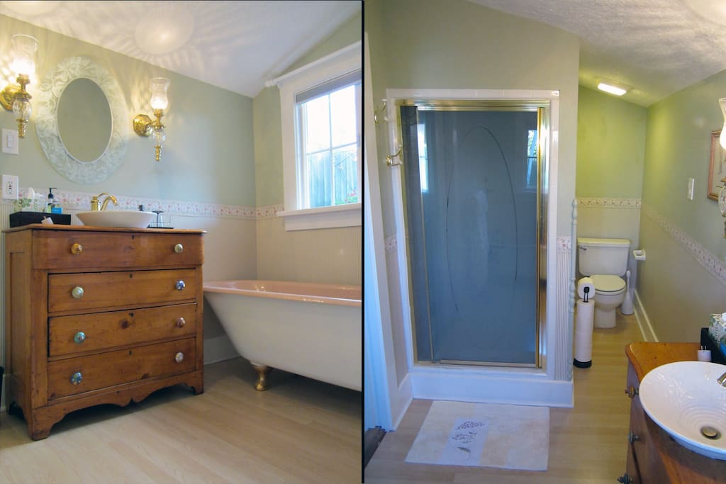 Private bath with shower and separate clawfoot tub