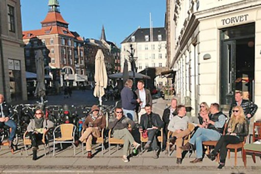 The square 'Vesterbro Torv' in the summer with lots of restaurants, bars, etc.